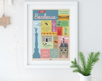 """Bordeaux poster """"Hello Bordeaux"""""""