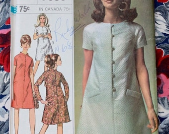 1960s dress pattern / Simplicity 7336 / 1960s mod dress uncut sewing pattern / bust 34""