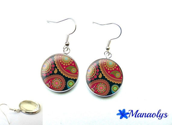 Paisley, Paisley, Burgundy and black patterns, 3201 glass cabochons earrings