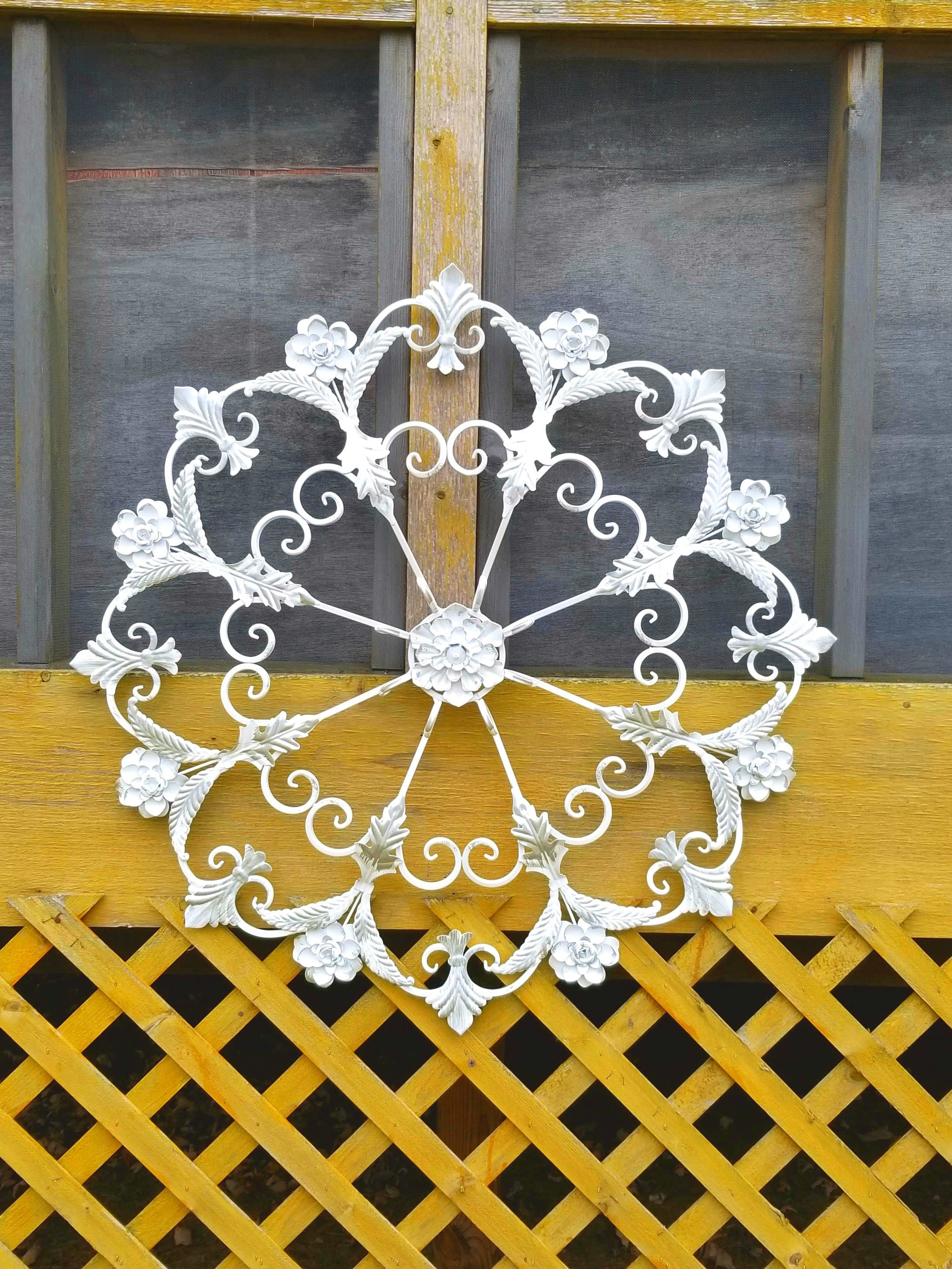 Large Distressed White and Silver Scrolled Metal Flower Wall