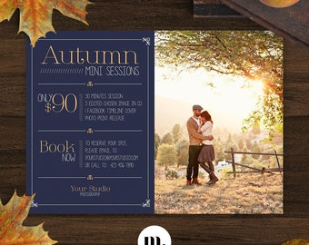 Fall/Autumn Mini Session Photoshop Template for Photographer - Photography Marketing Material - INSTANT DOWNLOAD - MS002