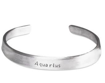Aquarius bangle bracelet, zodiac sign bracelet,  astrological sign jewelry, hand stamped bracelet, silver bracelet, aluminum bracelet, gift
