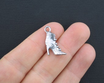 BULK 30 Boot Charms Antique Silver Tone High Heeled Boot 2 Sided - SC3369