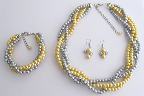 Luxurious Braid Four Strand Golden Yellow Gray Pearls Twisted Necklace Earrings Bracelet Free Shipping In USA