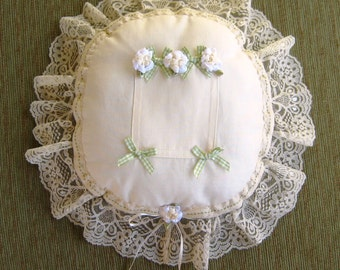 "Cotton Ivory Tooth Fairy Pillow with Lace, Ribbons, and Flowers---""Taylor"""
