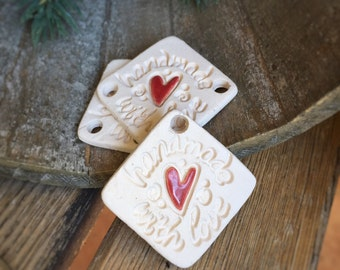 3 Bisque Handmade With Love Gift tags   Kiln Fired Bisque Tag Set   Stoneware craft supply   Pottery Bisque tags   Bisque Oil Diffuser