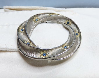 Vintage Signed BSK Brushed Silver Tone Blue Rhinestone Tiny Flowers Wreath Open Circle Twisted Round 1950s Mid Century Designer Gift (D977)