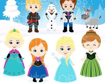 Instant Download Snow Princess ClipArt, Frozen Clipart, Snow Princess Clip Art, Frozen Clip Art