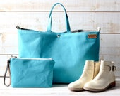 Aquamarine,Waterproof canvas tote, Turquoise Beach bag, Carry all, Diaper bag, Messenger bag, Work bag,  Travel bag, Zipper