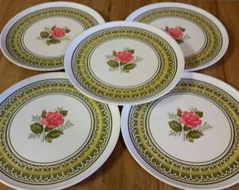 On Sale Set of 5 Red Rose Design Allied Chemical Melmac/Melamine 9.80 inch Dinner & Red melamine plates | Etsy