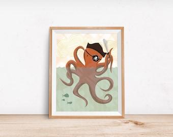 Orange Octopus Illustration, Pirate Octopus, Nursery Art, Children Decor