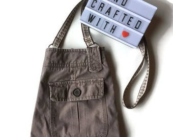Upcycled Purse - Zero Waste Bag - Crossbody Phone Case - Water Bottle Holder - Cross Body Purse - Bottle Pouch - Mother Day Gift - Earth Day