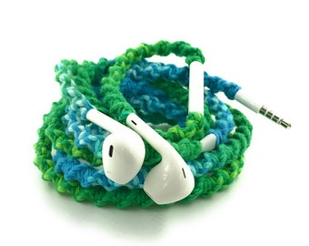 Wrapped Headphones for iPhone, Handmade iPhone Headphones, Custom Headphones, iPhone EarPods Tangle Free Earbuds in HARMONY