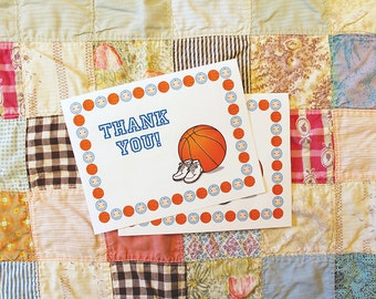 Basketball-Themed Baby Shower Thank You Card - Printable Instant Download