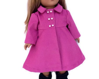 18 Inch Doll Pink Coat, Rose Pink Corduroy Doll Coat, 18 Inch Doll Clothes, Spring or Winter Doll Clothes