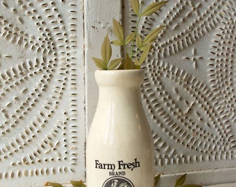Vintage Farm Fresh Brand Tools Ceramic Milk Bottle