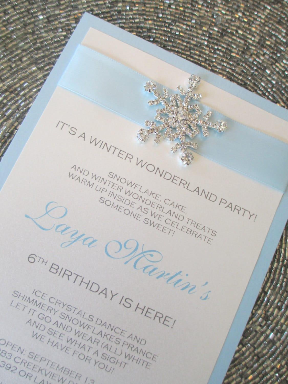 Winter Wonderland Invitation Frozen Invite Baby Blue Invite
