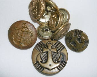 10 Vintage Metal Anchor Buttons • military • gold tone