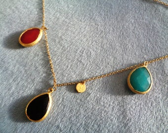 22 K Gold Black Turquoise Wine Red Jade Coin Pendants 18 Gold Filled Chain Jewelry Necklace Gift