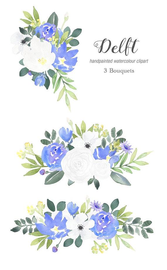 Watercolor Clip Art Delft Blue Rose Clipart blue flower