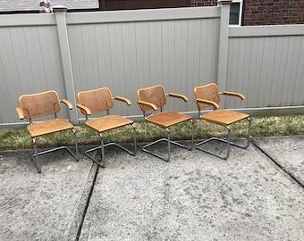 1973 MARCEL BREUER | Cesca Arm Chairs | KNOLL | Gavina Italy | Set 4