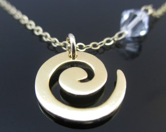 Spiral Gold Necklace, Spiral Necklace, Necklace Spiral, Gold Spiral Necklace, Spiral Pendant Necklace, Spiral Pendant, Gold Spiral Pendant