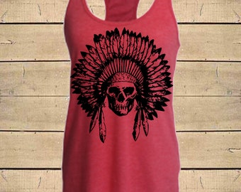 SKULL HEADDRESS Tank. Native American, Indian Tank, Skull Tank, Tribal Tank, Country Shirts, Womens (Fitted Style) Tri-Blend Racerback Tank