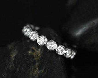 Rosados Box Grande Bubbles 14kt White Gold Round Bezel Diamond FULL Eternity Band