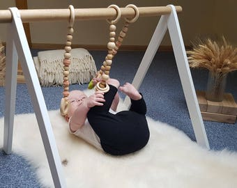 White and oak activity arch, Baby activity center, Montessori toy, Baby fitness studio, Scandinavian gym, Wooden baby gym, White play gym