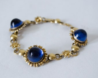 1960s vintage bracelet / 12KT floral gold & blue glass bracelet