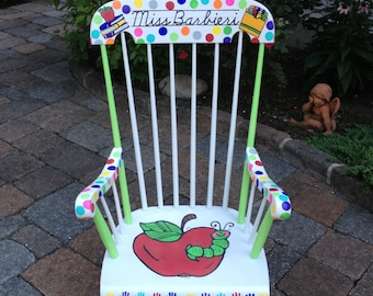 Handpainted Custom Teacher Chair - Your Chair My Customized Paint Job- Local Pick Up or You Ship ROUND TRIP