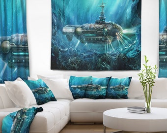 Designart Fantastic Submarine Abstract Wall Tapestry, Wall Art Fit for Wall Hanging, Dorm, Home Decor