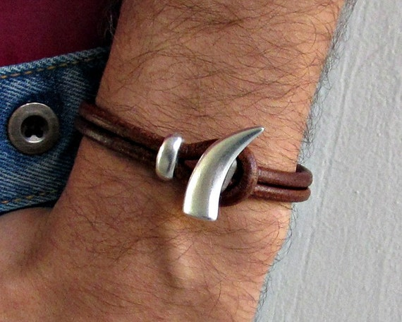 Tooth, Mens Leather Bracelet, Silver Mens Bracelet, Cuff, Mens Jewelry, Boyfriend, Men Gift, Mens Gift, Gift For Men, For Him