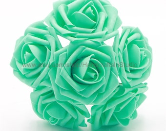 Turquoise Flowers Fake Roses Wedding Flowers 8cm For Wedding Table Centerpiece Turqoise Blue Bridal Bouquets Wholesale Flowers