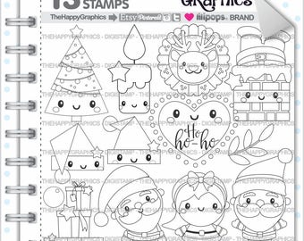 Christmas Stamp 80OFF COMMERCIAL USE Digi Digital Image Digistamp Coloring Page Graphic Santa
