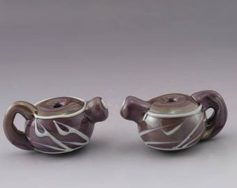 Handmade SRA Lampwork Bead Pair Violet Purple Beads Teapot Beads Tea Beads White Linework Bead Pair Heather Behrendt 4265