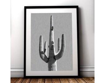 BNW Saguaro, Cactus Print, Cactus Art, Digital Download, Cacti, Desert Art, Arizona Art, Cactus Poster, Minimal Art