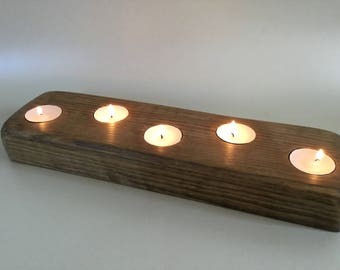 Chunky wooden tea light holder, table decoration, center piece,rustic decor