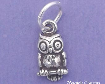 OWL Charm .925 Sterling Silver MINIATURE Small Bird - elp510