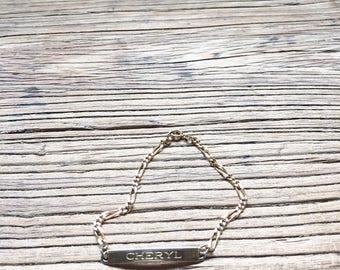 "Vintage 90s Speidel ID Bracelet, Gold Tone ""Cheryl"" Bracelet, Name Bracelet, Chain Bracelet, 90s Jewelry, Women's Bracelet"