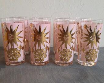 Set Of 8 Pink Mid Century Christmas Glasses