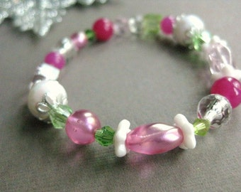 Winter Wonderland Girls Bracelet with sparkling Pink, Green, white and silver colors, Available in Small, Medium and Large, GB 200