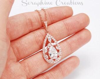 Rose Gold Wedding Necklace Cubic Zirconia Bridal Necklace, Wedding Jewelry Bridal Jewelry Bridal Pendant Long Teardrop Valerie W21RG