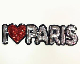I Love Paris Sequin Patch Applique for Jacket , Words with Heart Sequin Letters Patches 273