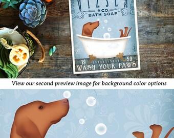 Vizsla dog bath soap Company vintage style artwork by Stephen Fowler Giclee Signed Print UNFRAMED