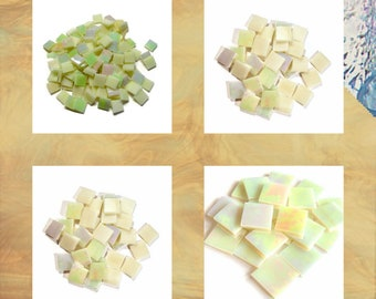 Butter Cream Iridized Squares Stained Glass Mosaic Tiles Amber Opal Hand Cut