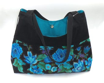 """Hobo Tote Shoulder Hand Crafted Bag for travel in cotton fabrics """"Peacock Floral"""" hand made with love by Joella Hill Designer Australian Sel"""