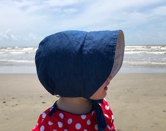 Baby Bonnet, Baby Sunbonnet, Chambray Bonnet, Cotton Baby Hat