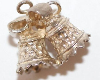 Vintage Sterling Silver Bracelet Charm Wedding Anniversary Bells & Bow (3.6g)