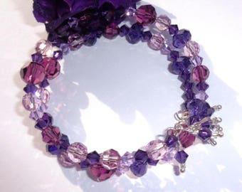 Purple Swarovski Crystal Memory Bracelet